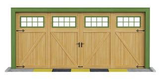 Klasyka dwa samochodowy drewniany garaż na bielu Obrazy Stock