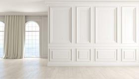 Klasyka pusty wnętrze z biel ścianą, drewnianą podłoga, okno i zasłoną, ilustracji