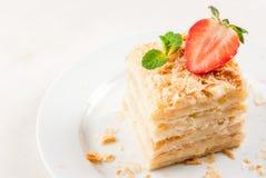 Klasyka tort - Napoleon lub millefeuille zdjęcie royalty free