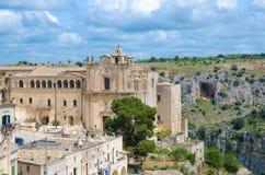 Klasztor Świątobliwy Agostino kościół w Sasso Barisano, Matera, Ital obraz stock