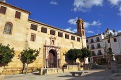 Klasztor St Catherine Siena i kwadrat Stary Coso, Antequera, Malaga prowincja, Hiszpania obrazy stock