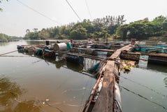 Klatka dla rybiego gospodarstwa rolnego w rzece Obraz Royalty Free