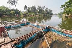 Klatka dla rybiego gospodarstwa rolnego w rzece Fotografia Stock