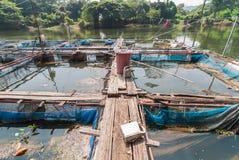 Klatka dla rybiego gospodarstwa rolnego w rzece Obrazy Royalty Free