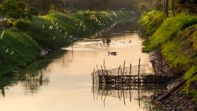 Klatka dla rybiego gospodarstwa rolnego w rzece Zdjęcia Stock