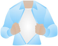 Klatka piersiowa, rozpieczętowana koszula Obrazy Royalty Free