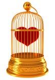klatki złoty serce więziąca miłości czerwień Fotografia Royalty Free