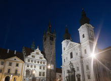 Klatovy city main square Black tower and church with catacombs, Czech Stock Photography