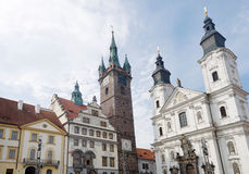 Klatovy city main square Black tower and church with catacombs, Czech Stock Photo