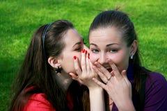 Klatsch mit zwei Freunden stockfoto
