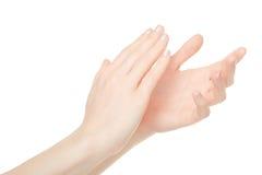Klatschende Hände der Frau, Applaus Stockbild