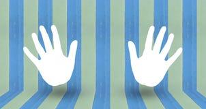 Klatschenzeichen auf blauem pastale Wandholz Stockbild