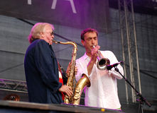 Klaus Doldinger performs with Hubert von Goisern Royalty Free Stock Photos