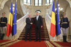 Klaus Iohannis - Jean-Claude Juncker Immagine Stock