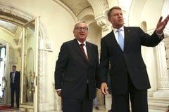 Klaus Iohannis - Jean-Claude Juncker Стоковые Изображения RF