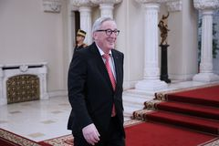 KLAUS IOHANNIS AND JEAN-CLAUDE JUNCKER MEETING AT COTROCENI PALACE. Jean-Claude Juncker arrives at Cotroceni Presidential Palace, in Bucharest, Friday, January stock photo
