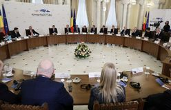 KLAUS IOHANNIS AND JEAN-CLAUDE JUNCKER MEETING AT COTROCENI PALACE. Romanian President Klaus Iohannis and members of the European Council led by Jean-Claude stock image