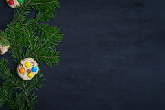 klaus santa för frost för påsekortjul sky Utrymme för text Royaltyfria Foton