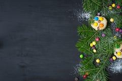 klaus santa för frost för påsekortjul sky Utrymme för text Royaltyfria Bilder