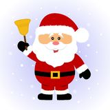 klaus santa för frost för påsekortjul sky santa Jultomten med en klocka royaltyfri illustrationer