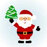 klaus santa för frost för påsekortjul sky santa Santa med jultreen royaltyfri illustrationer