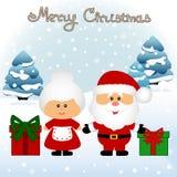 klaus santa för frost för påsekortjul sky Rolig vykort med fru Santa Claus och jultomten C vektor illustrationer