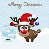 klaus santa för frost för påsekortjul sky Roligt kort med en julhjort vektor illustrationer