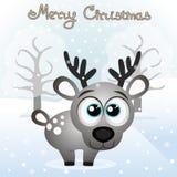 klaus santa för frost för påsekortjul sky Roligt kort med en julhjort royaltyfri illustrationer