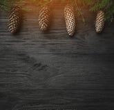 klaus santa för frost för påsekortjul sky Svart wood bakgrund, med granfilialer och bästa kottar, bästa sikt Xmas-fyrkantkort Lju arkivbild