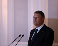 Klaus Werner Iohannis. Romanian President, Klaus Werner Iohannis, pictured during a press conference held in Bucharest, Romania, 24th March 2015 Stock Images