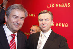 Klaus Wowereit. Governing Mayor of Berlin, Klaus Wowereit next to a wax-figure of himself at Madame Tussauds, Berlin 2008 Royalty Free Stock Photos