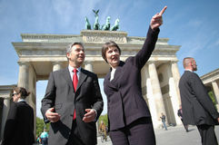 Klaus Wowereit, Helen Clark. APRIL 29, 2005 - BERLIN: the Prime Minister of New Zealand, Helen Clark, with the governing mayor of Berlin, Klaus Wowereit, and Stock Images