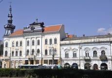 Klausenburg-Napoca RO, am 24. September: Reihe des historischen Gebäudes in Klausenburg-Napoca von Siebenbürgen-Region in Rumänie Lizenzfreie Stockfotografie