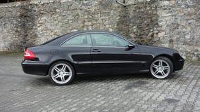 Klausenburg Napoca/Rumänien 7. April 2017: Coupé Mercedes Benzs W209 - Jahr 2005, Eleganzausrüstung, schwarzes metallisches, 19-Z Lizenzfreie Stockbilder
