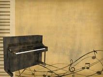 Klavier auf abgenutztem Hintergrund Stockfotografie