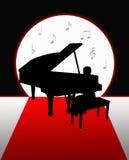 Klavier, das im Mondschein-Schattenbild spielt Stockfotografie