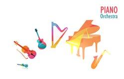 Klavier-Orchester, Satz Musik-Instrumente Lizenzfreies Stockfoto