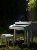 Klavier steht im Gras Stockbilder