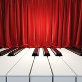 Klavier-Tasten und rote Trennvorhänge. Lizenzfreie Stockfotografie