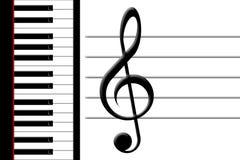 Klavier und dreifacher Clef Stockfotos