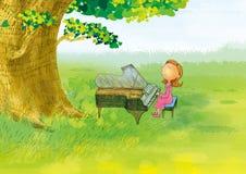 Klaviermädchen stock abbildung