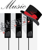 Klaviertasten und weiblicher Hut. Aufbau für Auslegung Lizenzfreie Stockfotografie