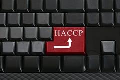 Klawiatura czarna klawiatura i tekst HACCP dalej wchodzić do guzika Obraz Stock