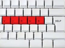 Klawiatura - czerwień kluczowy wirus, clos zdjęcia stock