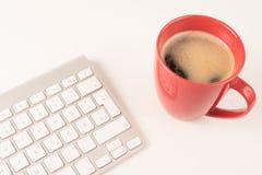 Klawiatura z kawą Zdjęcia Royalty Free