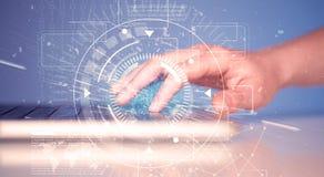 Klawiatura z zaawansowany technicznie interfejs użytkownika grafiką Zdjęcie Royalty Free