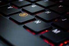 Klawiaturowy whit klucza bitcoin zdjęcie stock