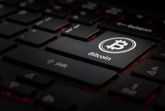 Klawiaturowy whit klucza bitcoin fotografia royalty free