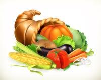 Klaxon de beaucoup Légumes de récolte Corne d'abondance Graphisme de vecteur Images libres de droits