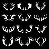Klaxons blancs de cerfs communs de silhouette de bande dessinée réglés Vecteur Illustration Libre de Droits
